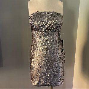 Sparkle & Fade Silver Sequin Dress 6